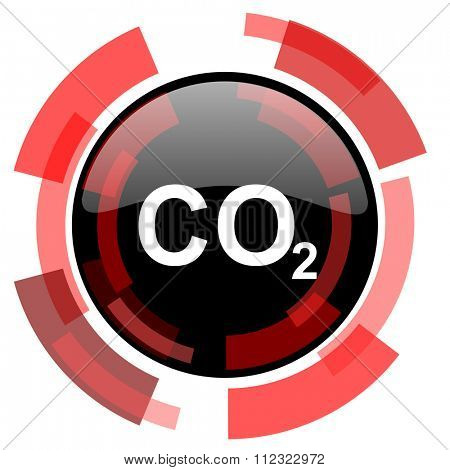 carbon dioxide red modern web icon