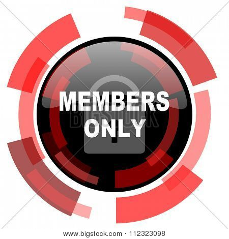 members only red modern web icon