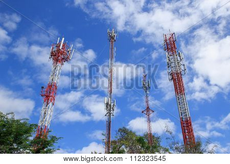 Communications Tower With Beautiful Blue Sky