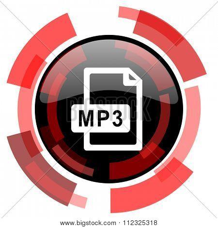 mp3 file red modern web icon