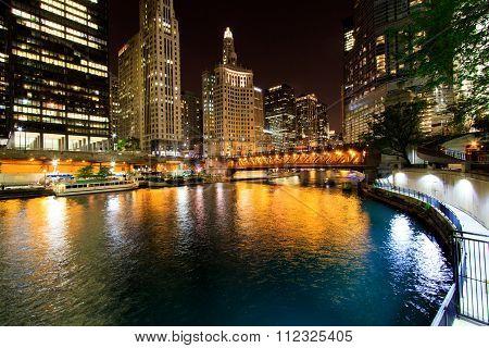 Night Chicago Skyline