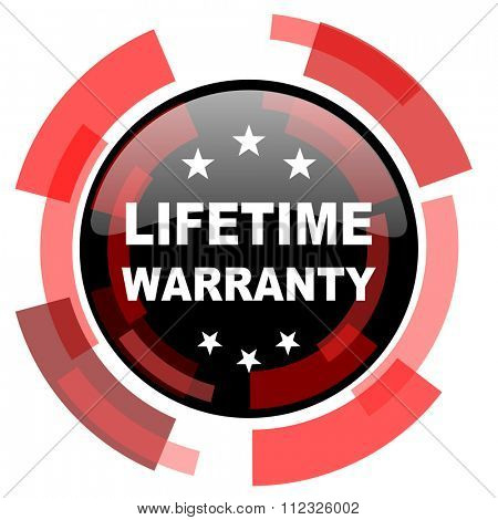 lifetime warranty red modern web icon