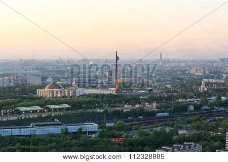 Poklonnaya Gora, panoramic view of Victory Park during holiday evening in Moscow