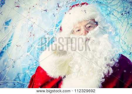 Portrait of Santa Claus in a winter magic forest. Christmas time.