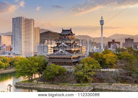 Hiroshima, Japan cityscape at the castle.
