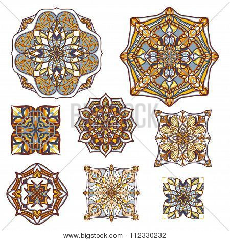 Vector Set Of Decorative Elements In Vintage Ornamental Style. Ethnic Oriental Ornaments Collection
