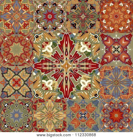 Vector seamless patchwork background from colorful oriental ornaments, polka dot patterns, rosette f