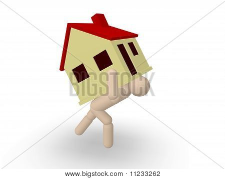 Man carrying house
