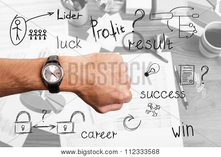 Hand with wrist watch