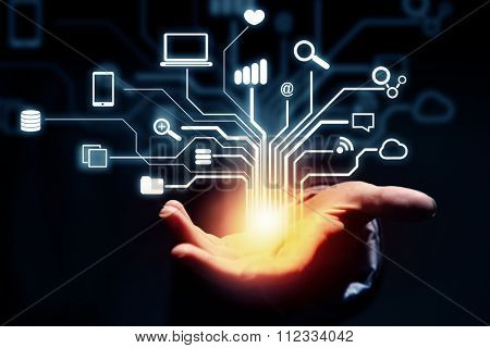 Close up of businessperson presenting in plam cloud computing concept