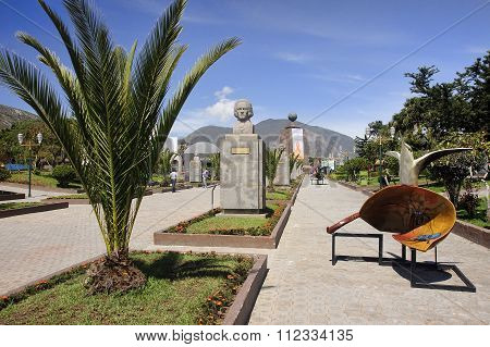 Quito, Ecuador - November 26, 2015:  Monument Mitad Del Mundo On