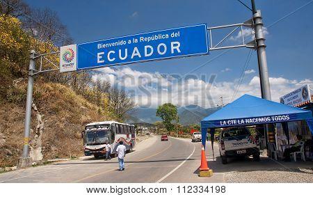 Macara, Ecuador - November 30, 2015:  Border Peruvian - Ecuadori