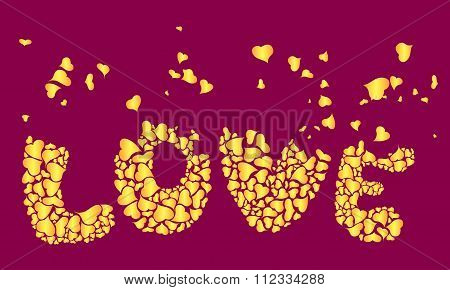 Inscription Love Of Heart Shapes
