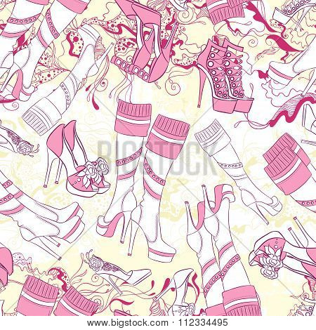 Seamless pattern with women boots and fashion accessories