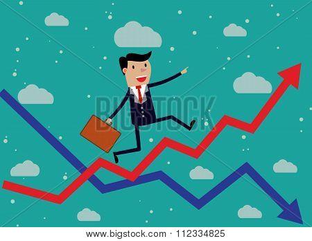 Businessman Running Red Arrow Graph Up