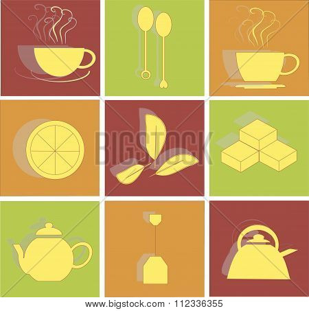 Tea flat icons on red, green and orange background, square