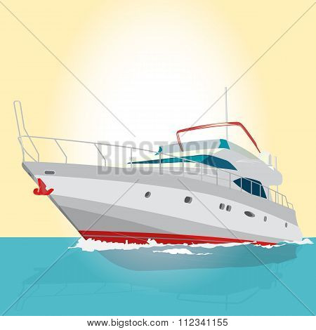 Nice red and white boat on on blue surface fishing