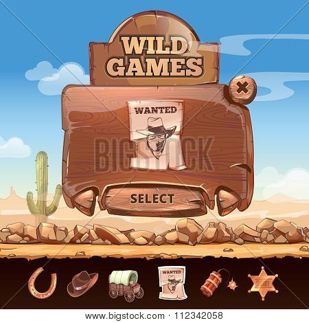 Wild West desert landscape background with user interface UI in cartoon style