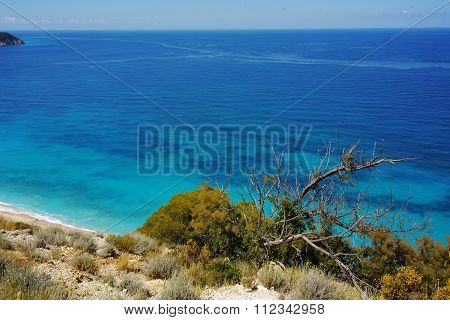 Blue Waters of the ionian sea, near Agios Nikitas Village