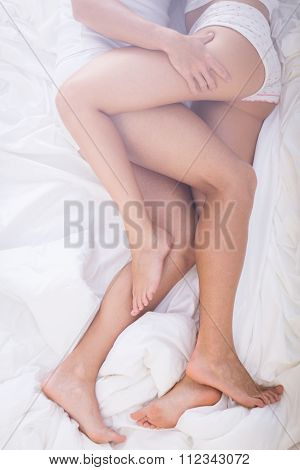 Erotic Close Embrace In Bed