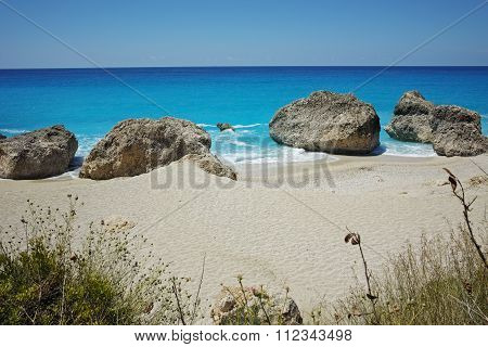 Rocks in water Megali Petra Beach, Lefkada