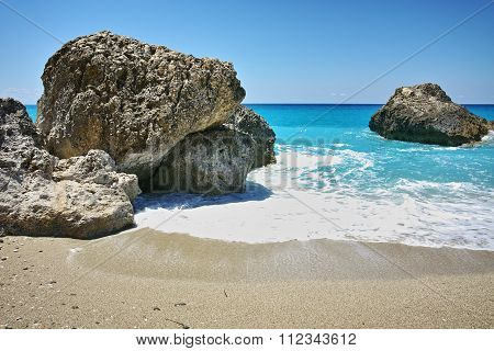 Blue waters of Megali Petra Beach, Lefkada