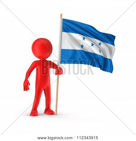 Man and Honduras flag. Image with clipping path