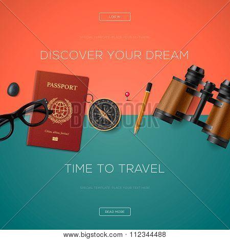 Tourism website template, vector illustration.