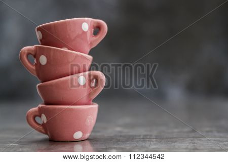 Little Pink Toy Porcelain Cups With White Dots
