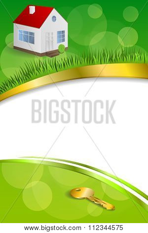 Background abstract green gold house key frame ribbon vertical illustration vector