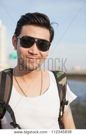 Portrait Head Shot Of Asian Man Happy Face