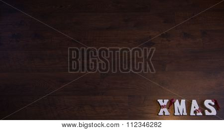 Christmas Banner Wood Background