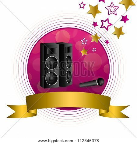 Abstract background karaoke microphone loudspeaker star pink yellow gold circle frame ribbon