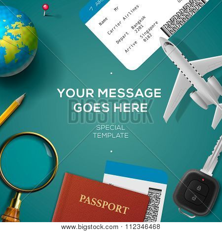 Travelling template, travel and vacation concept