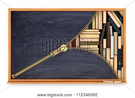 Classroom Blackboard Open By Zipper And Blackboard With Paper Book  Inside, Knowlage Concept