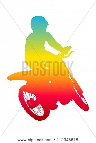 Pop art illustration of a man riding motocross