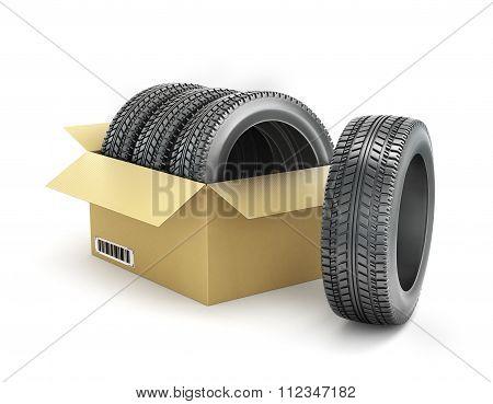 Car Tires In A Box