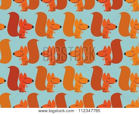Funny Squirrel Background. Cute Redhead Small Animal. Rodent From  Forest. Wild Animal Seamless Patt