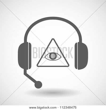 Remote Assistance Headset Icon With  An All Seeing Eye