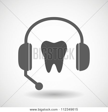 Remote Assistance Headset Icon With  A Tooth