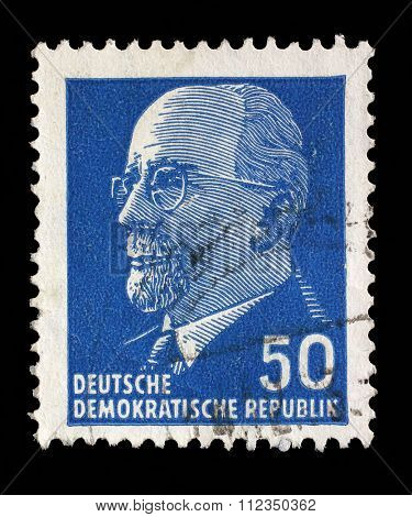 GDR - CIRCA 1961: post stamp printed in German Democratic Republic - East Germany shows Chairman Walter Ulbricht (communist politician, first secretary of Socialist Unity Party, leader), circa 1961