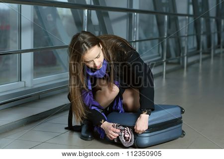 Girl Disintegrated Luggage