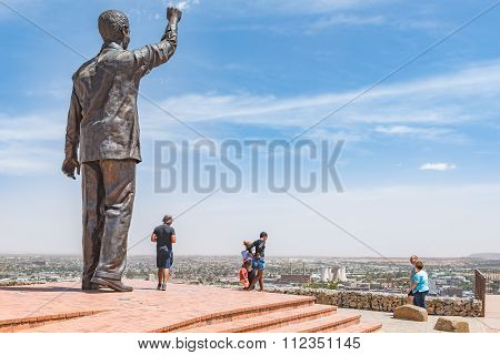 Bronze Statue Of Nelson Mandela On Naval Hill