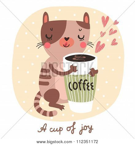 Illustration with cats and a cup of coffee or tea