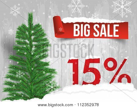 Winter Sale 15 Percent. Winter Sale Background With Red Ribbon Banner And Snow. Sale. Winter Sale. C