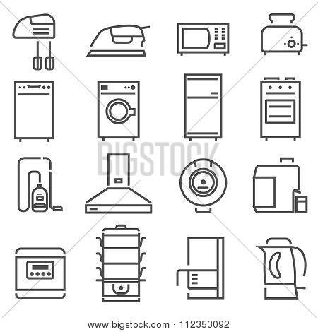 House Appliances Black White Icons Set