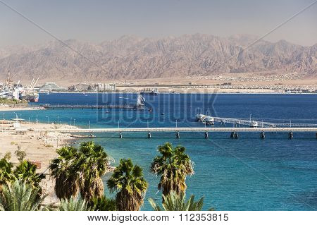View From Eilat Towards Aqaba In Jordan, Eilat. Israel.