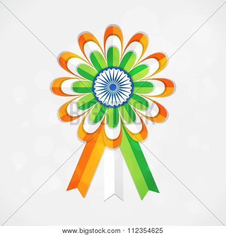 Creative glossy Badge in National Tricolours with Ashoka Wheel for Happy Indian Republic Day celebration.