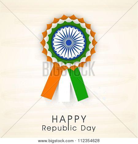 National Tricolours Badge with Ashoka Wheel for Happy Indian Republic Day celebration.