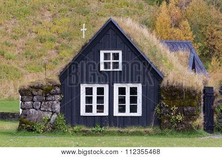 Traditional Icelandic House With Grass Roof. Skogar Folk Museum, Iceland